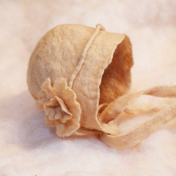 Hand felted newborn bonnet