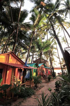 A beach party of colors in Goa, India.