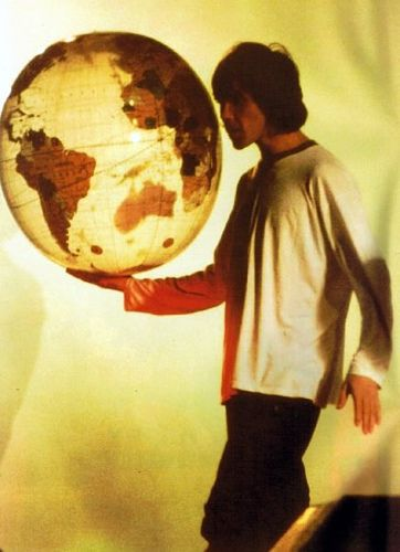 5-27-90 Ian Brown at Stone Roses Spike Island gig.  He's got the whole world in his hands.