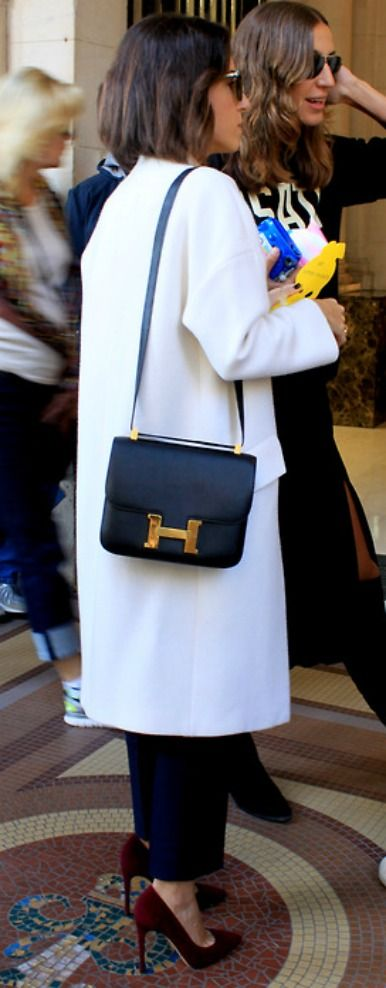 Beautiful coat, shoes and loving the Hermes bag~~