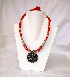 Threaded Red Necklace with Black Pendant