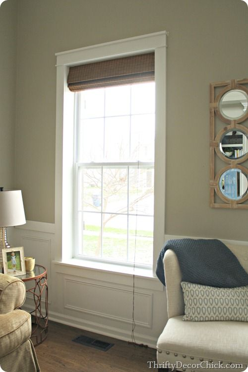 DIY craftsman window trim Love it with the Roman shade