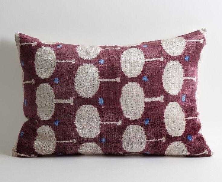 Velvet Ikat Pillow Cover - Purple Ikat Pillow Velvet Ikat Pillow Lumbar Pillow Cover Decorative Couch Purple Cream Pillow Handwoven Pillow by pillowme on Etsy https://www.etsy.com/listing/269259479/velvet-ikat-pillow-cover-purple-ikat