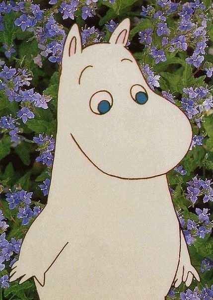 .moomin. purple flowers.