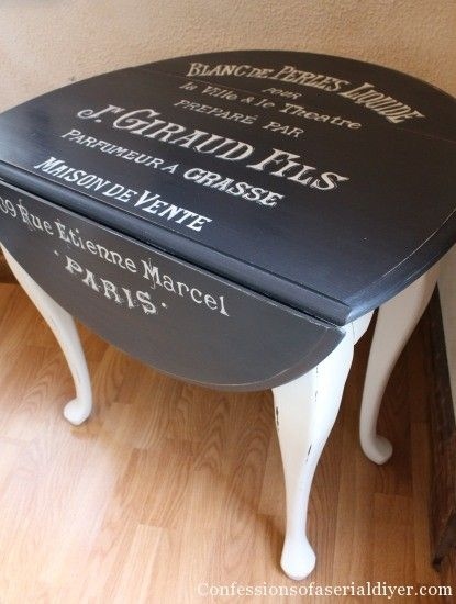 Table with graphics - great description on how to transfer large graphics to furniture