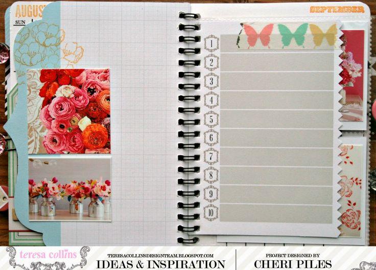 TERESA COLLINS Equipo de diseño: Creación de un cuaderno de inspiración Tutorial y calendario descarga GRATIS para encajar el kit álbum por Cheri Piles
