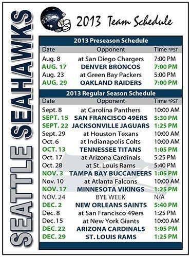 2013 Seattle Seahawks Football Schedule~in case you want to know when I'll be unavailable! :)