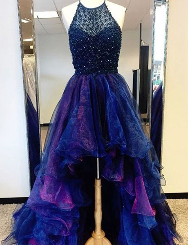 Fashion High Low Halter Ruffled Tulle Prom/Homecoming Dress with Beading from simpledress 1