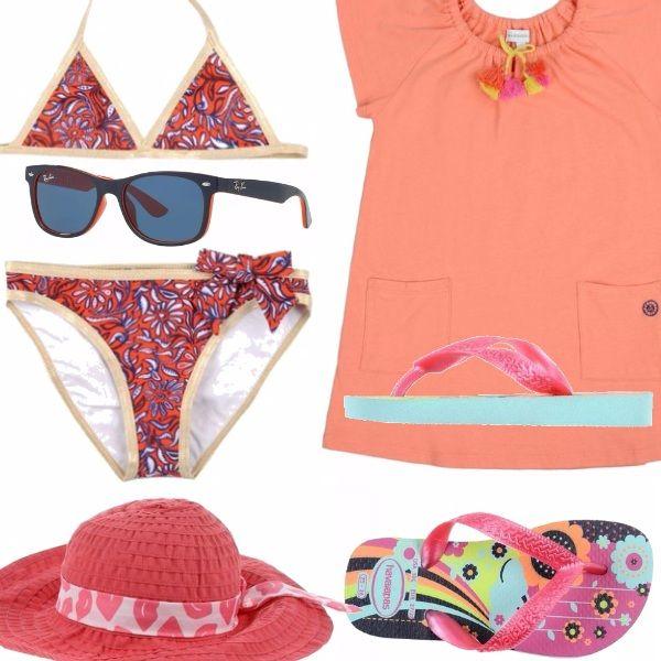 Outfit per una bambina tra i quattro e gli otto anni. Il colore principale è il salmone, delineato in tutte le sue sfumature. Il cappello e gli occhiali da sole sono accessori chiave, che proteggeranno la vostra bambina da colpi di calore.
