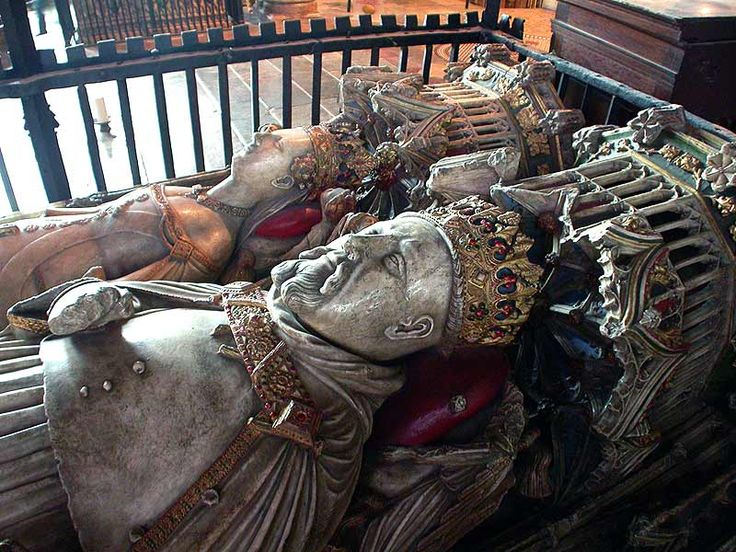 Inside Canterbury Cathedral:  King Henry IV (1367-1399-1413 (a mature looking 46 on his death, possibly via leprosy)), nephew of the Black Prince, and his Queen, Joan of Navarre.  Henry came to the throne via a coup which removed and eventually murdered Richard II (son of the Black Prince) in Henry's favour.
