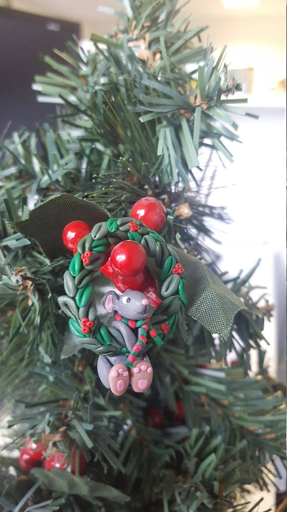 Tiny mouse hanging on Christmas wreath polymer clay ornament