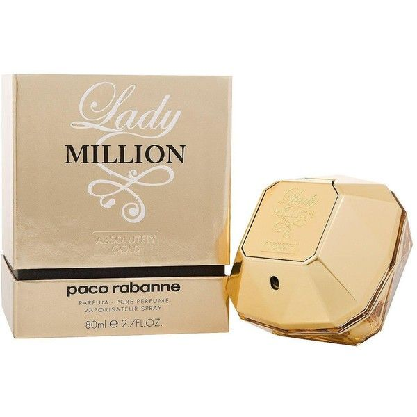Paco Rabanne Lady Million Absolutely Gold 80Ml Edp ($105) ❤ liked on Polyvore featuring beauty products, fragrance, paco rabanne perfume, perfume fragrance, paco rabanne, edp perfume and flower fragrance