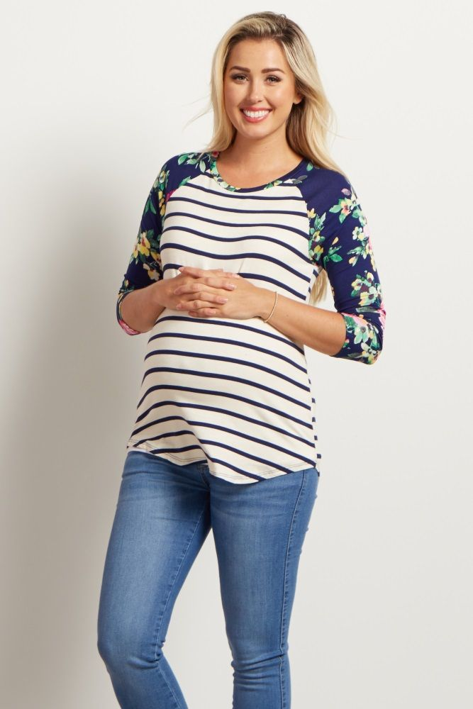 Our two favorite prints have come together in the most gorgeous maternity top! Feminine florals and the classic stripe print work together to bring you a chic, versatile look for casual everyday wear. Now, head out in style with no effort thanks to its pops of color and flattering design!