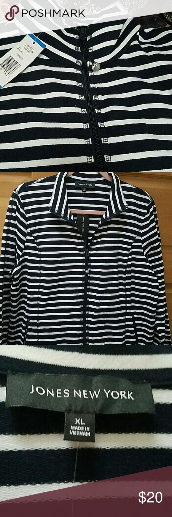 Ahoy Matey!  Super soft nautical zip up from JNY Navy blue and white stripes scream summer by the water!  This super soft cotton full zip jacket features zip pockets on both sides.  Brand new with tags. Jones New York Tops Sweatshirts & Hoodies