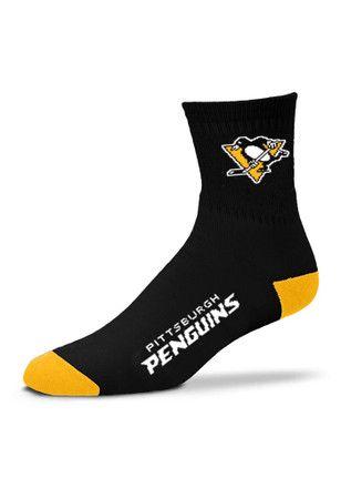 Pitt Penguins Logo Name Quarter Socks