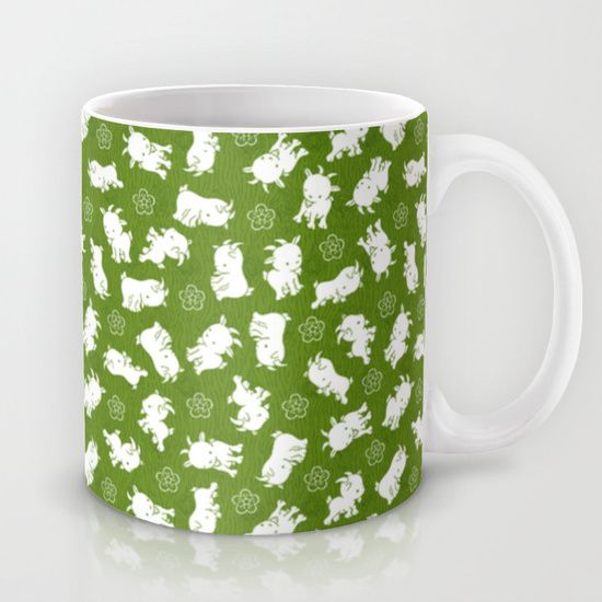 Ditsy Goat Green Mug