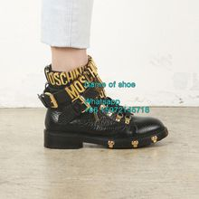 2016 Hot New Women buckles biker boots gold hardware letters leather combat boots Black wrap around Ankle Strap Boots(China (Mainland))