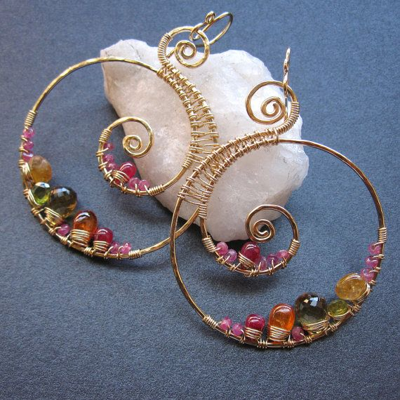 14k gold filled nautical hoops wire wrapped spinel, citrine and vessonite gemstone earrings
