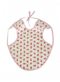 Girls Bib with Rose Floral Print Pale Pink