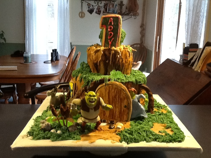 Shrek Cake for my granddaughter's 1st birthday