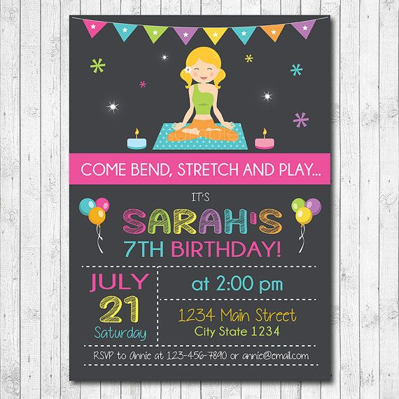 Yoga Birthday Invitation, Yoga Invite, Yoga Birthday, Yoga girl, Yoga party, chalkboard, Digital Printable Invitation