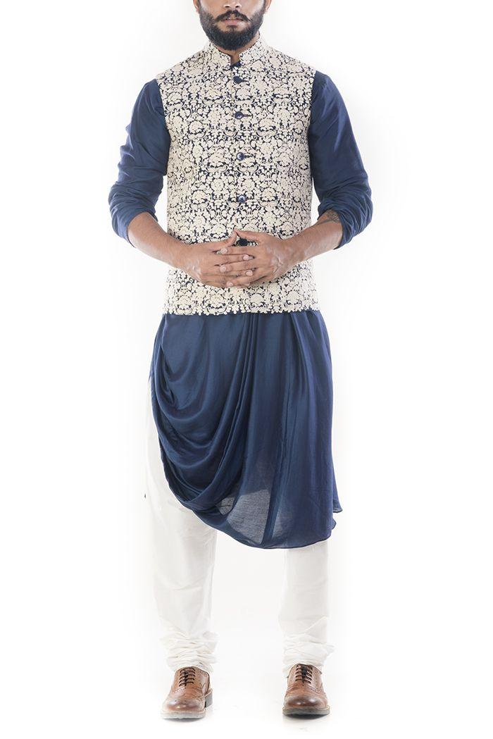 Royal Blue Cowl Drapped Kurta With Cream Dori Embroidery Waistcoat-@Smritiapparels.com