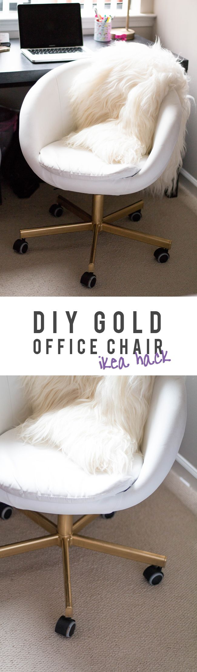 Take an IKEA SKRUVSTA Swivel Chair from drab to fab with a little gold spray paint! Easy 30-minute DIY IKEA hack for the weekend.