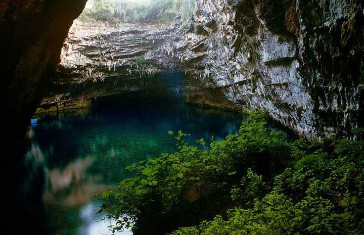 ~ Melissani, a.k.a. Lake Melissani -  cave on the island of Kefalonia, Sami, Greece.