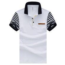 2016 новых мужчин полосатый лоскутное рубашки поло Топ с короткими рукавами случайные рубашки поло хлопка Slim fit sport поло плюс размер 3XL 4XL 5XL(China (Mainland))