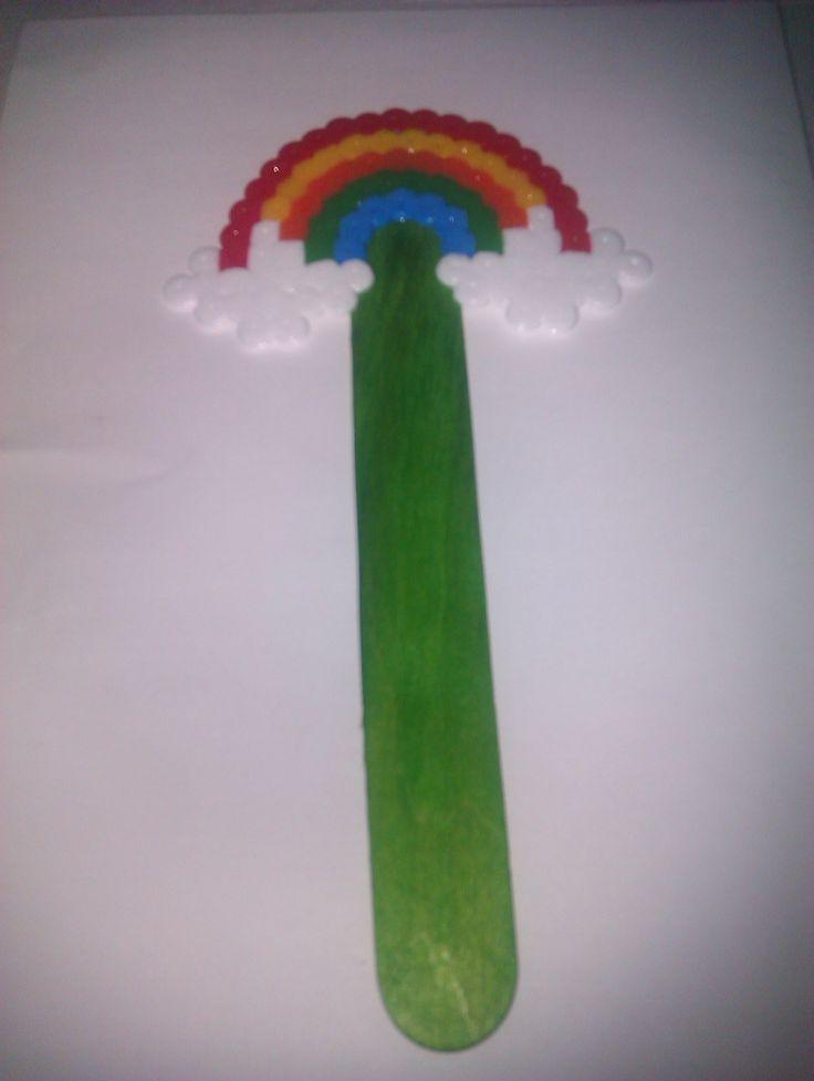 Marcapáginas arco iris. Hama beads maxi.