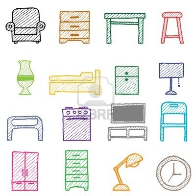 hand drawing furniture icons  Stock Photo