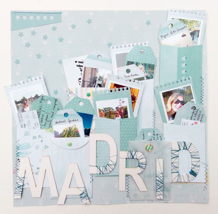 Scrapbook layout about a journey to Madrid