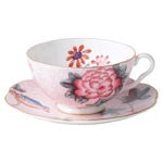 Pink Teacup and Saucer  Wedgwood Harlequin Collection - Cuckoo
