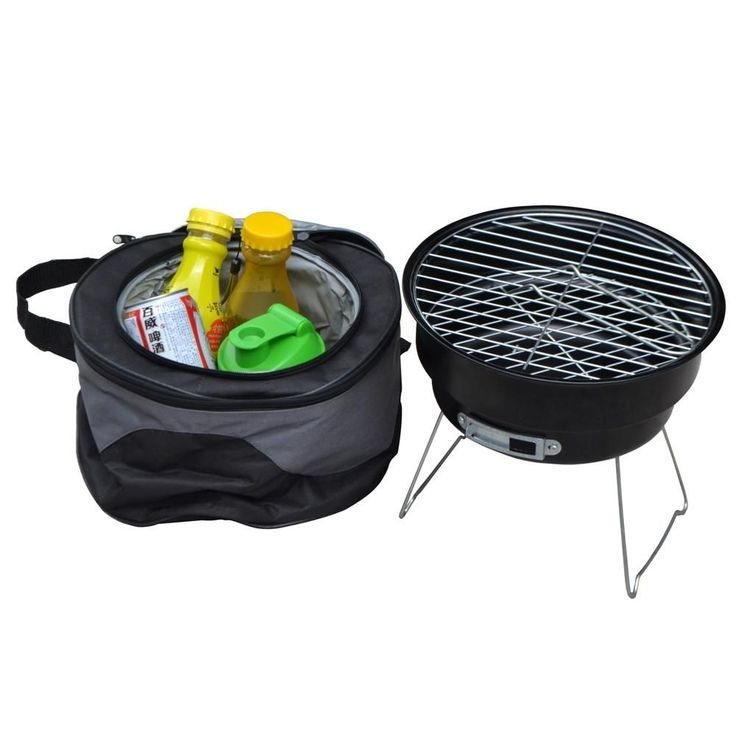 Portable Charcoal BBQ Grill With Shoulder Cooler Bag Great for Camping