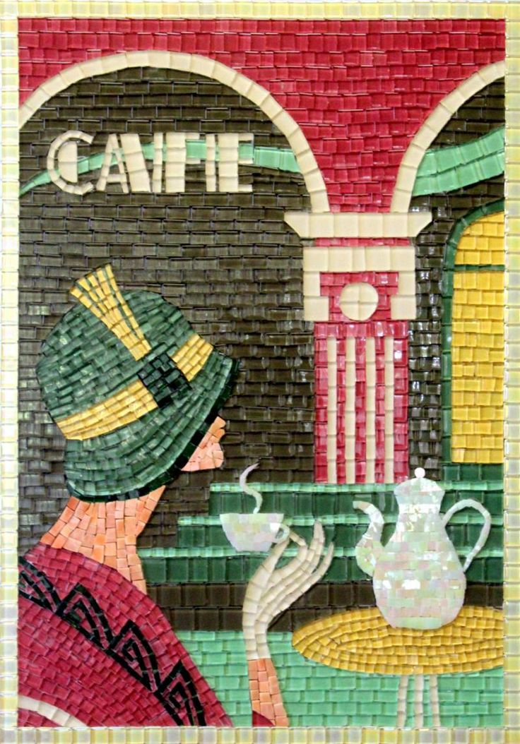 DECO ART CAFE by Babsie Nienaber (INTERMEDIATE) 60x40cm  Crystal Glass and Venetian Tiles
