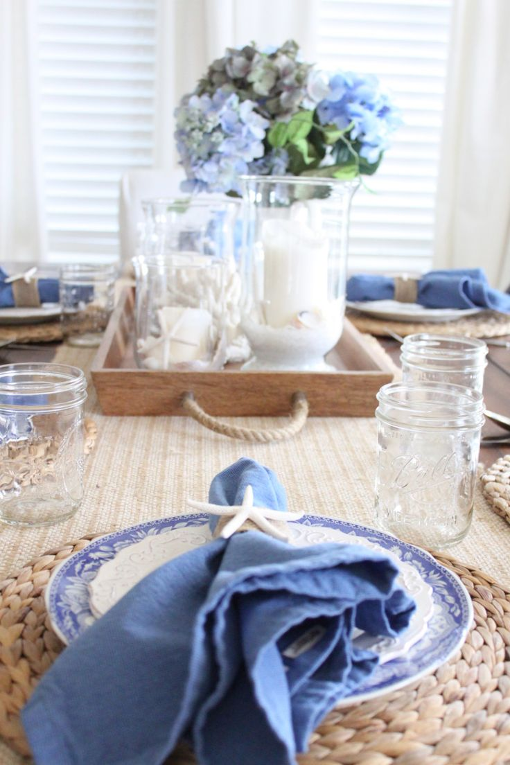 White and Blue Coastal Table |from Starfish Cottage shows just how pretty blue accents can be.