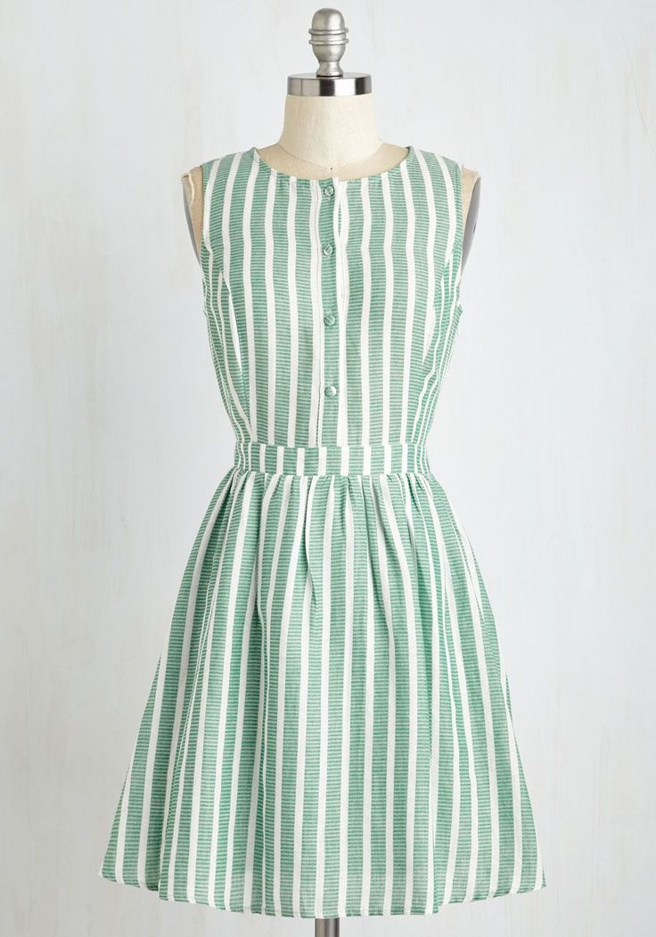 Barnhouse Bash Dress - Sundress, Green, White, Stripes, Print, Buttons, Casual, Fit & Flare, Sleeveless, Summer, Woven, Good, Mid-length