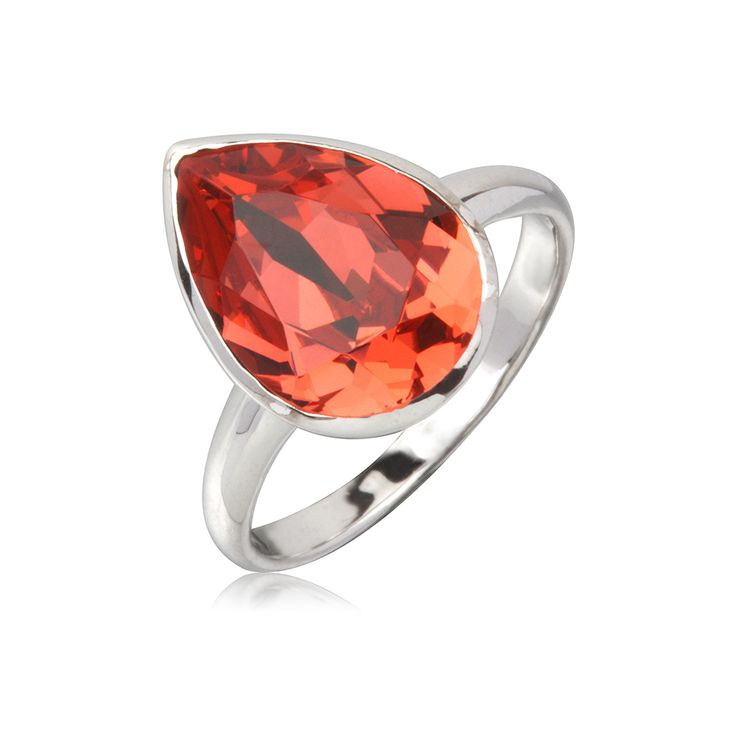 Padparadcha Tear Drop 14x10mm Ring  $79.95 Tear drop 14x10mm Swarovski Crystal elements ring crafted with rhodium enhanced sterling silver. #Bling #SwarovskiCrystal #MarisaKateDesigns #Love #Padparadcha
