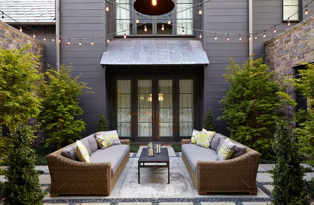 backyard string lights Patio Transitional with courtyard hanging lights Nashville outdoor living slate roof wicker