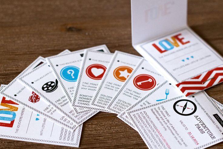 LOVE Vouchers / Coupons Matchbook for Him #design #illustration