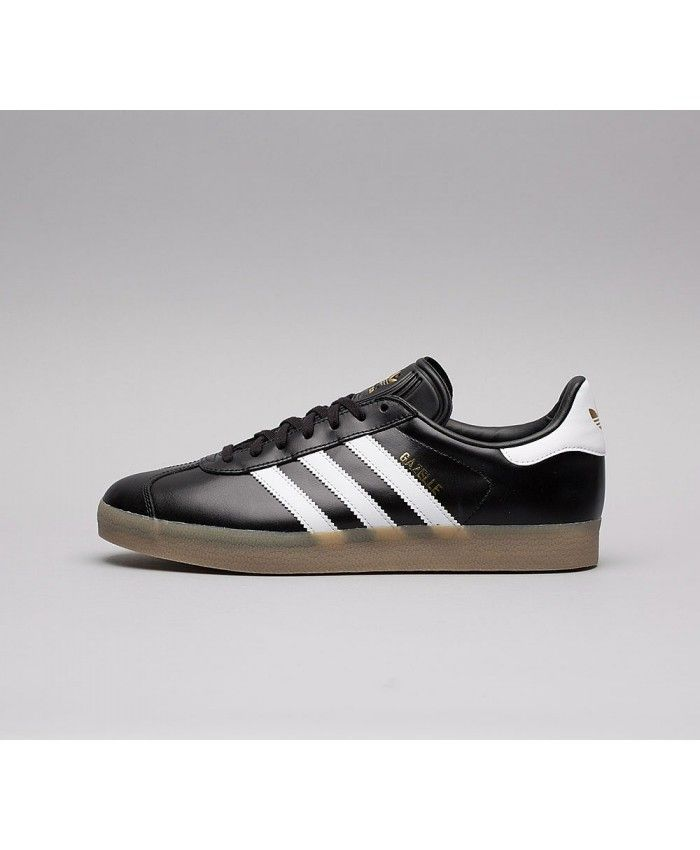1c759505190fb2 Adidas Gazelle Mens Leather Trainers In Black White Gold