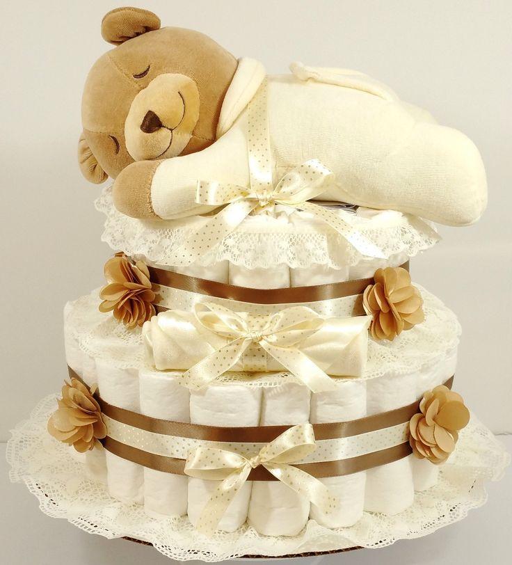 Slumber Bear Gender Neutral Baby Diaper Cake
