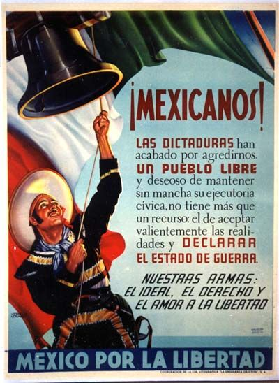 Mexcian WW2 Propaganda Poster~ Text urges declaration of war against the Axis powers. WW2 1942