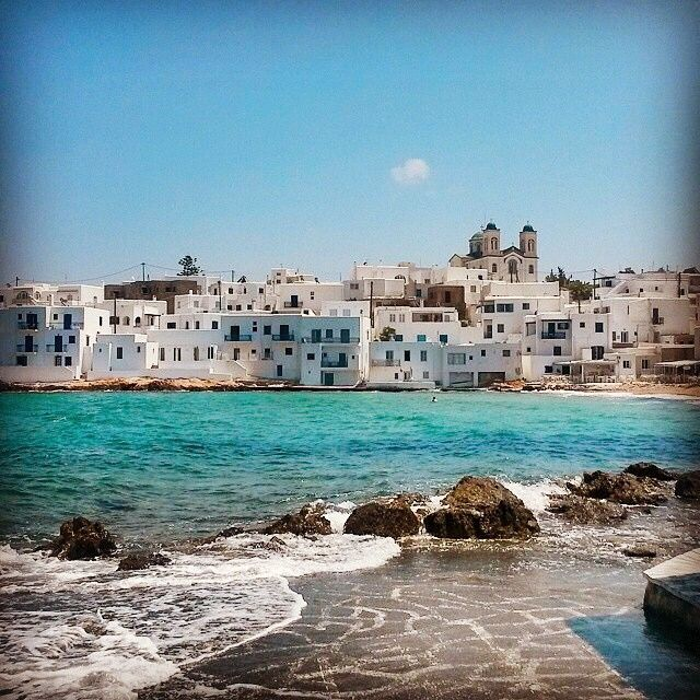 Wonderful white and blue in Paros island (Πάρος). Amazing Cycladic architecture and lovely blue sea.