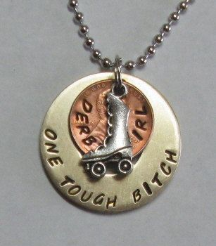 One tough bitch roller derby pendant necklace by maggiemaybecrafty