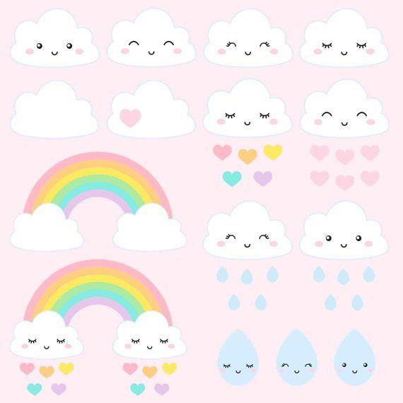 Little Clouds Clipart Baby Girl Love Rain Clipart Weather Rainbow Clipart Kawaii Clipart Planner Accessories Rainbow Clipart Baby Clip Art Kawaii Clipart