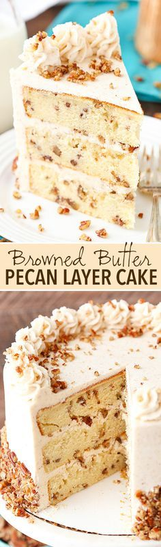 Browned Butter Pecan Layer Cake! Buttery pecan cake with browned butter frosting! So good!