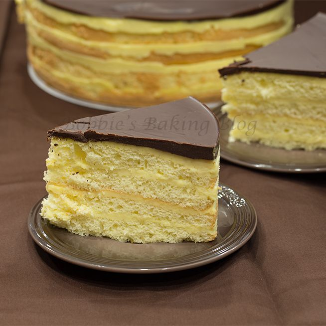 Boston Cream Pie: Layer of chiffon cake and pastry cream topped with ...