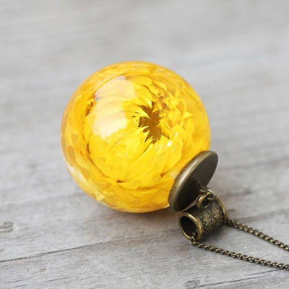 Real flower resin sphere pendant botanical jewelry yellow