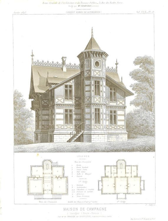1873 Architectural Print Maison de Campagne от CarambasVintage